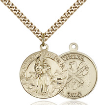 14K Gold Filled St. Joan Of Arc National Guard Pendant 7/8 x 3/4 24 inch Chain - $134.27
