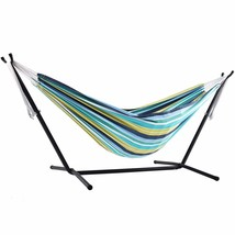 Vivere Double Cotton Hammock with Space Saving Steel Stand, Cayo Reef (4... - $101.99
