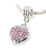 Pink Puff Heart Crystal Dangle Charm Pendant Bead for European Charm Bra... - $8.99