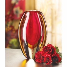 Modern Sunfire Red & Gold Decorative Glass Vase - $31.63