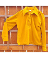 Vtg DESIGNER AWARD Long Sleeve Shirt-Yellow-Collar-M-Fuzzy-Thick-Button-... - $37.39