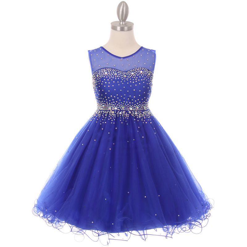 Primary image for Royal Blue Short Length Sparkling Hand Bead Rhinestones on Illusion Tulle Dress