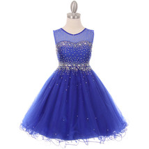 Royal Blue Short Length Sparkling Hand Bead Rhinestones on Illusion Tulle Dress - $57.00+