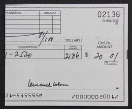 Leonard Cohen Signed Autographed Half Personal Check - $74.24