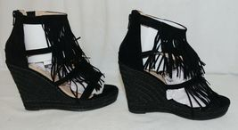 BF Betani Shiloh 8 Black Fringe Wedge Heel Sandals Size 7 And Half image 4