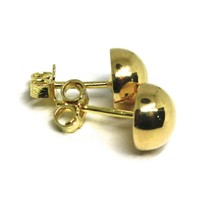 "18K YELLOW GOLD EARRINGS, HALF SPHERE, DIAMETER 8 MM, 0.31"", MADE IN ITALY image 2"