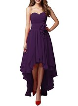 Women's Chiffon Sweetheart Hi-Lo Bridesmaid Dresses Evening Party Prom G... - $99.99