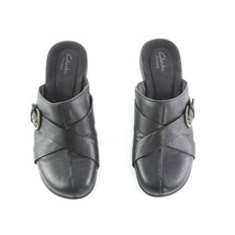 Clarks Artisan Black Pebbled Leather Mules Slip On Comfort Shoes Flats W... - $29.53