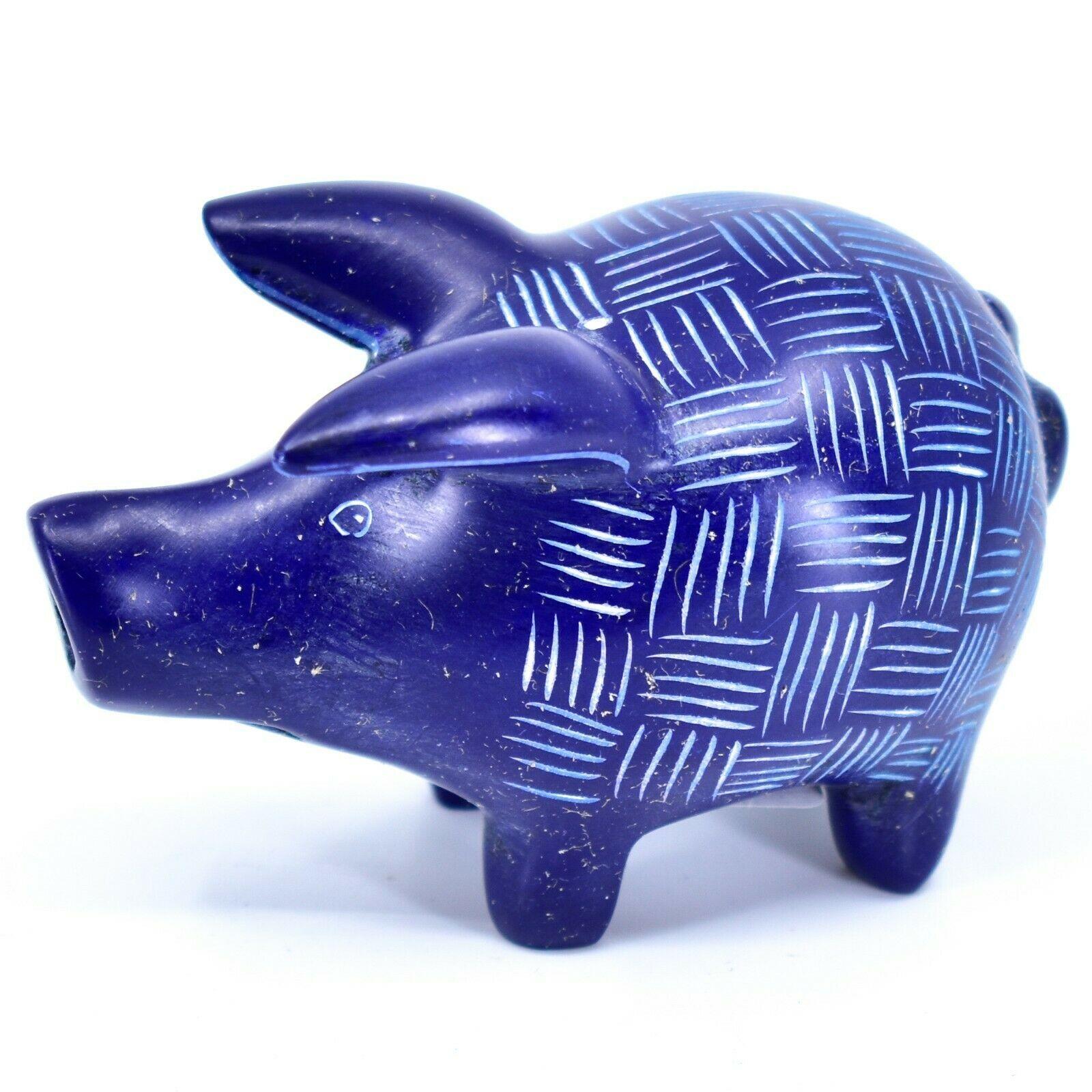 Tabaka Chigware Hand Carved Kisii Soapstone Dark Blue Pig Figure Made in Kenya