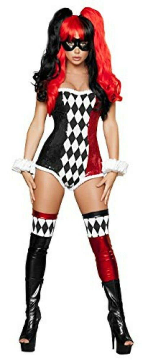 Roma Costume 2 Piece Sexy Jokester Costume, Black/Red, Small