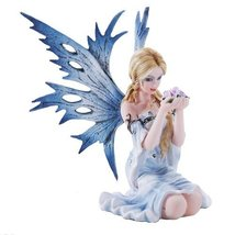 4.75 Inch Fairyland Blue Winged Fairy with Flowers Statue Figurine (4.5) - $32.15