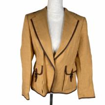 Max Mara Linen Coat Jacket Blazer Size 12 Goldenrod Single Button Short ... - $56.09