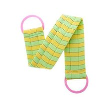 2 pieces Body Cleaning Bath Belts Towels Exfoliating Bath Belts, GREEN YELLOW