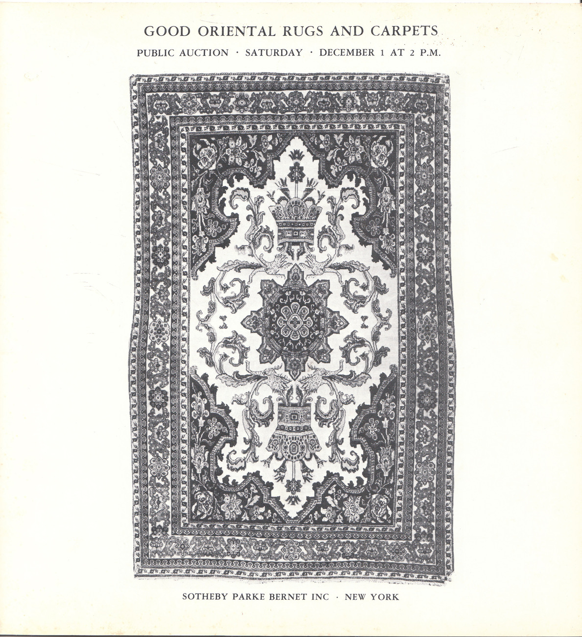 Illustrated Auction Catalog Good Oriental Rugs and Carpets 1973 Prices Realized