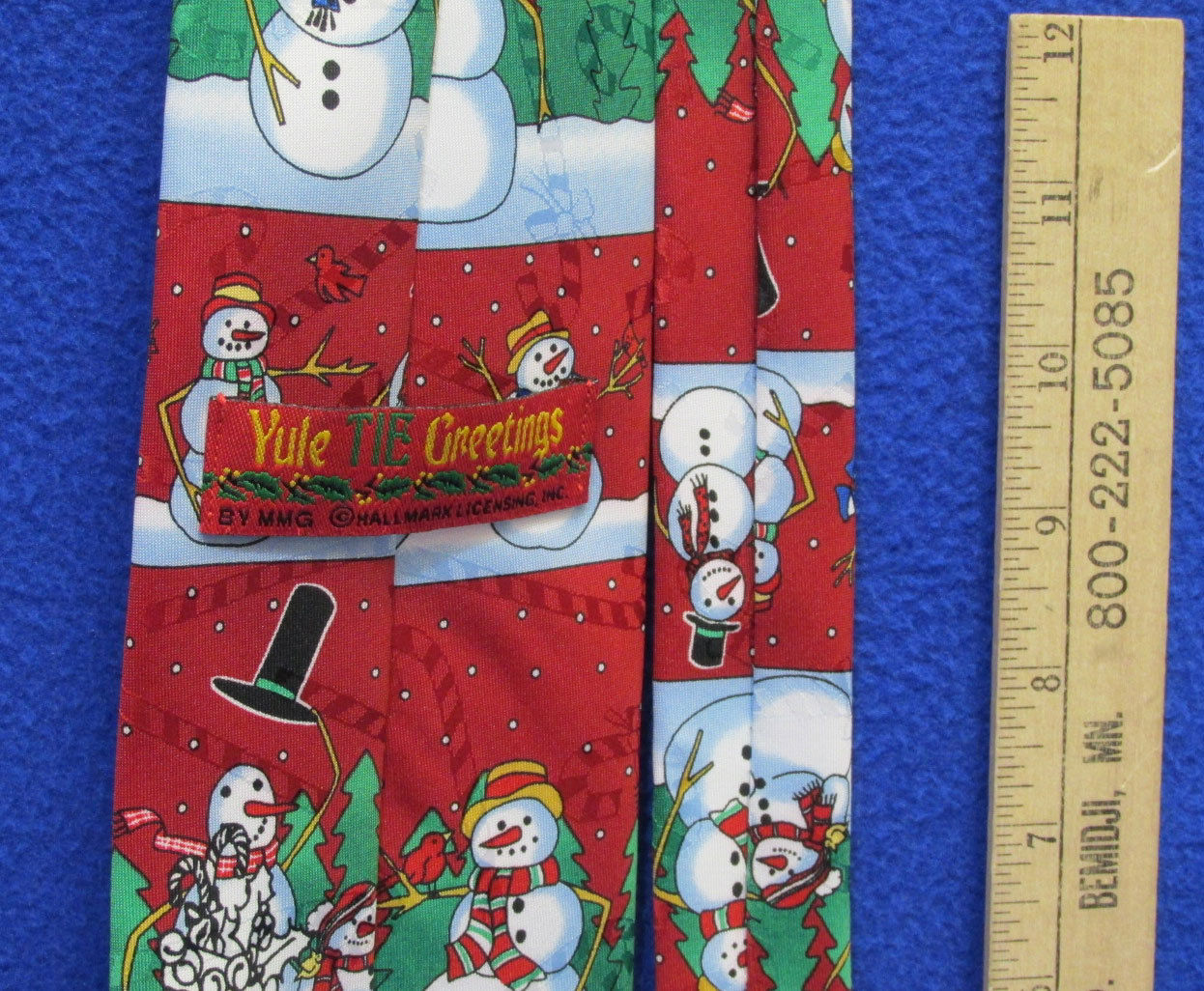 Hallmark Mens Neck Yule Tie Red Snowman Snowmen Christmas Embossed Candy Cane
