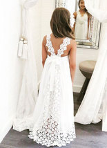 Sweet White Flower Girl Dress with Lace for Wedding - £55.76 GBP+