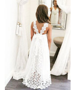 Sweet White Flower Girl Dress with Lace for Wedding - $96.32 CAD+