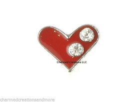 10pc Lot Red CZ Heart Love Silver Tone Floating Charm For Memory Glass Lockets - $8.90