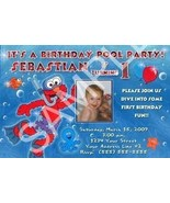 Pool Party Elmo Diving Swim Photo Birthday Party Invitation - $19.99