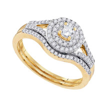 10k Yellow Gold Round Diamond Bridal Wedding Engagement Ring Band Set 1/2 Cttw - $699.00