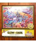 MasterPieces Hidden Images Glow - Sea Castle Delight 500-Piece Jigsaw Pu... - $12.86