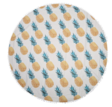 Yellow Round Pineapple Tapestry Outdoor Beach Towel Picnic Blanket - $246,99 MXN
