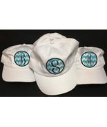 White Denim Cap Hat Monogrammed Adult One Size Velcro Adj. Various Initials - $8.99