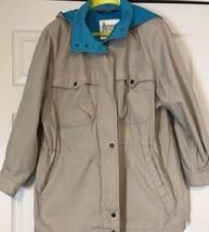 Khaki London Fog All Weather Aqua Lined Hooded Coat Jacket Woman (12 REG... - $47.02