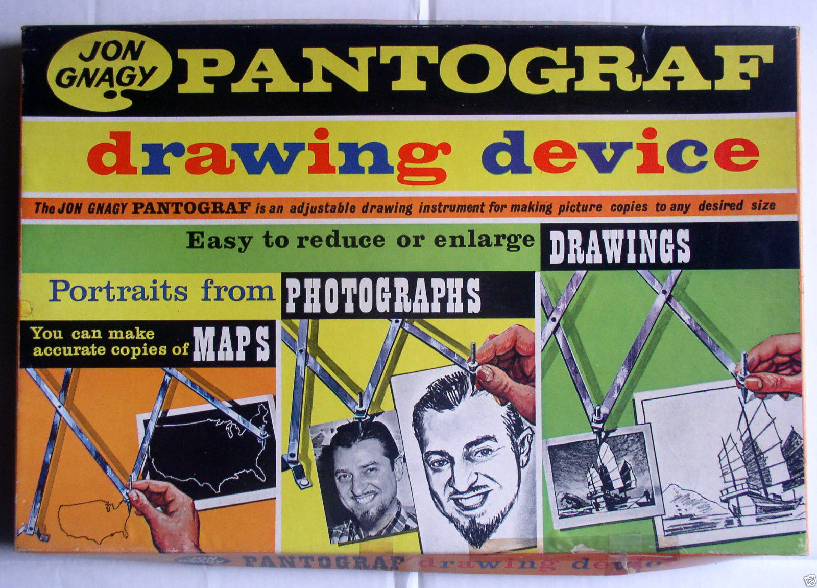 Jon Gnagy Pantograf drawing device for copying pictures and other images, reduce