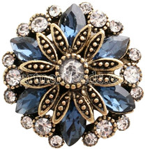 Blue Rhinestone Gold Plated Flower 18mm Charm For Ginger Snaps Magnolia ... - $6.88