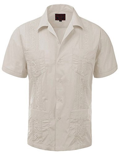 Guayabera Men's Cuban Beach Wedding Short Sleeve Button-Up Casual Dress Shirt (X