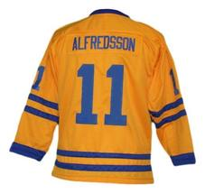 Daniel Alfredsson #11 Team Sweden Retro Hockey Jersey New Yellow Any Size image 2