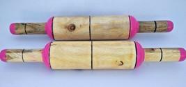 2 Pcs  Painted Wooden Craft  Chapati Rolling Pin Belan Velan Kitchen Too... - $30.20 CAD