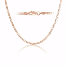Rose Gold Plated Sterling Silver Curb Link Chain necklace 3mm Italy 22 inch - $55.93