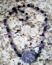 Vintage Purple Lavender Glass And Stone Necklace - $10.00