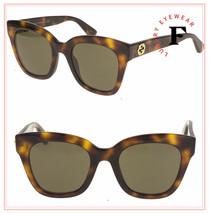 GUCCI 0029 GG0029S Brown Havana Gold Wild Tiger Cat Stud Chunky Sunglasses - $272.25
