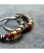 autumn-- beaded hoop earrings-- handmade by thebeadedlily on - $29.00