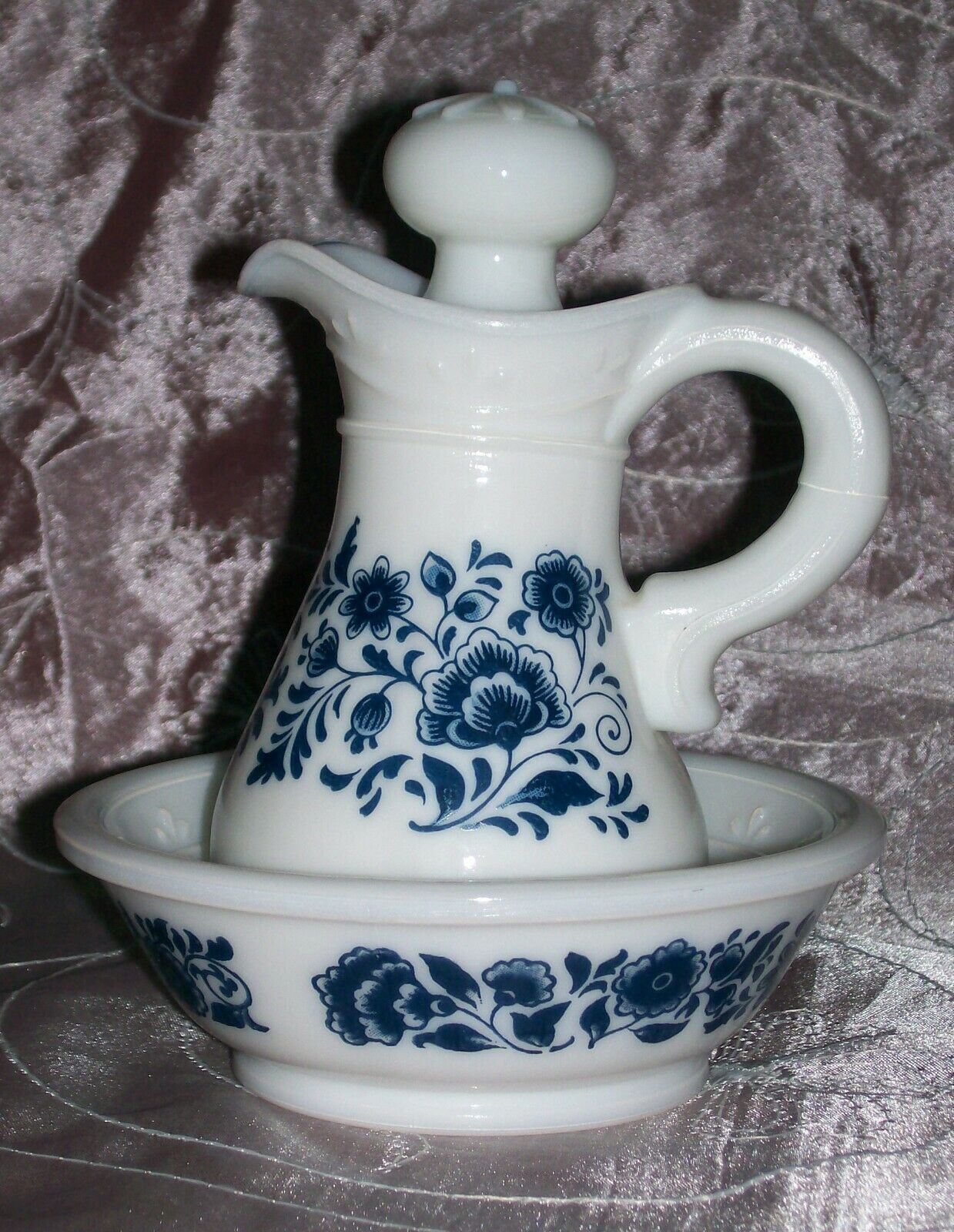 Primary image for Collectible Vintage Avon Delft Blue and White Pitcher & Bowl Set- EUC