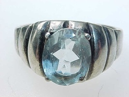 Vintage Genuine BLUE TOPAZ Ring in STERLING Silver - Size 9 3/4 - FREE S... - $75.00