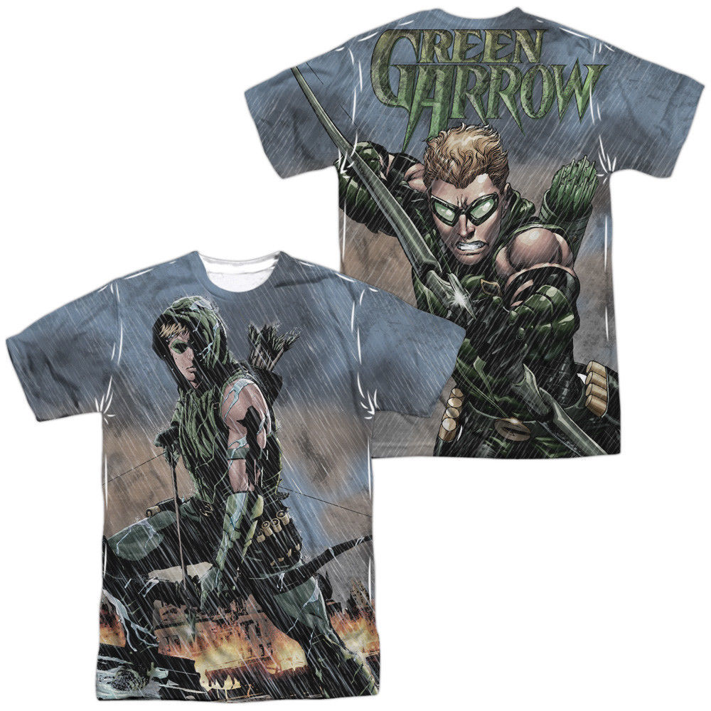 Primary image for JLA Justice League of America Green Arrow Rain Sublimation Front Back T-shirt