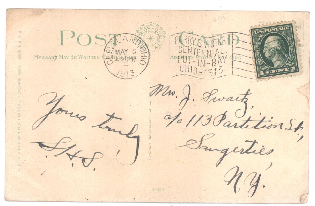 Post Card from Cleveland, OH dated May 3, 1913