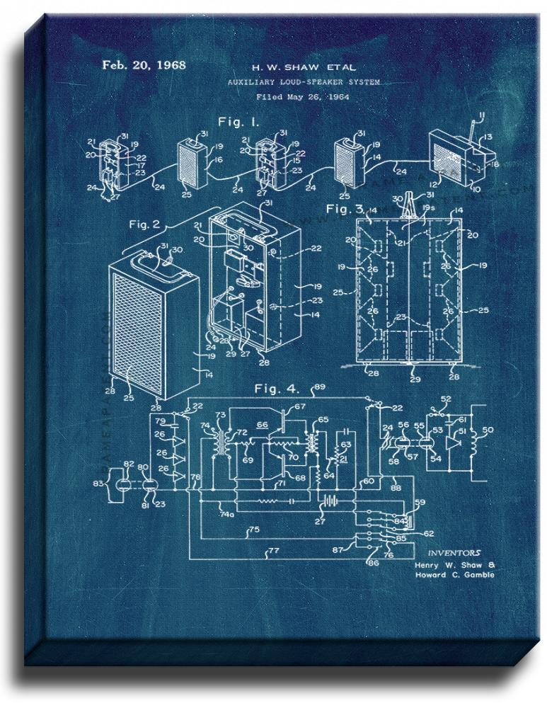 Primary image for Auxiliary Loud-speaker System Patent Print Midnight Blue on Canvas