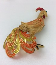 RARE Vintage Brooch Pin SIGNED 1971 Janmax  Rooster Chicken Enamel jewel... - $21.77