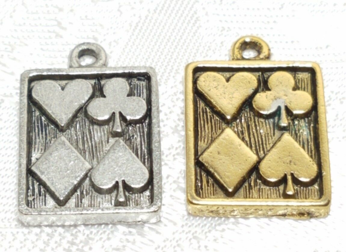 HEARTS, SPADES, CLUBS, DIAMONDS CARD FINE PEWTER PENDANT CHARM