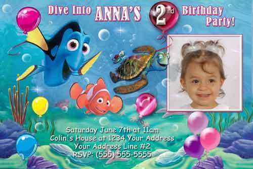 Primary image for Custom Photo Finding Nemo Birthday Pool Party Invitation