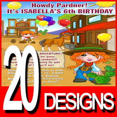 Country Western Cowgirl Cowboy Birthday Party Invitation