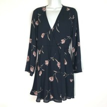 lush black floral Short Long Sleeve V Neck Wrap dress size S - $29.69