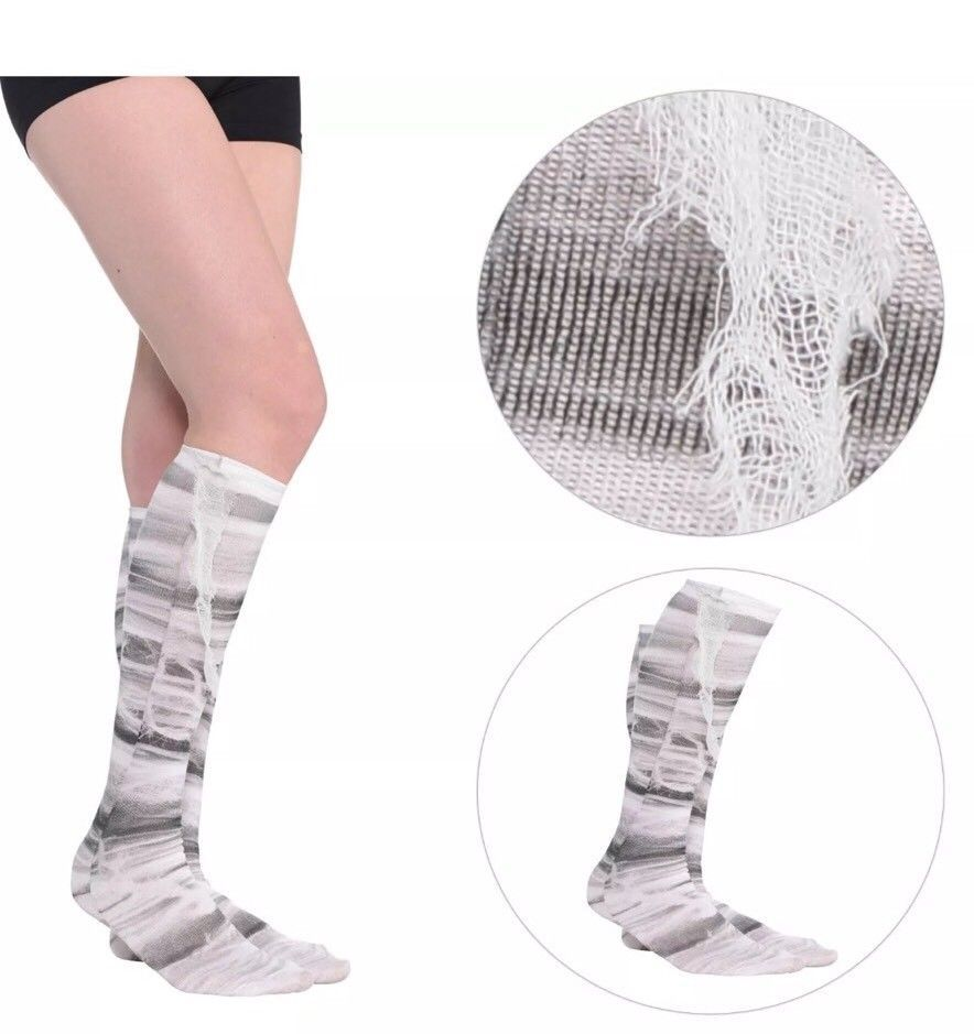 Mummy Wrap White Black Zombie Cosplay Knee High Unisex Costume Egypt Socks New