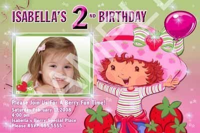Strawberry Shortcake Girls Photo Birthday Party Invitation