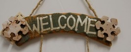 MEI Welcome Snowflake Snowman Wooden Rustic Hanging Sign image 2